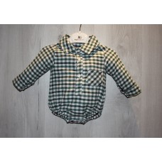 Бодик рубашка на мальчика Клетка 62,68 см байка